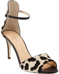 schwarze Wildleder Sandaletten mit Leopardenmuster