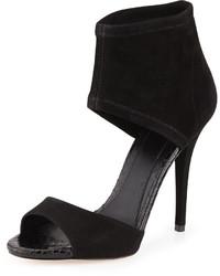 schwarze Wildleder Sandaletten