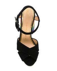 schwarze Wildleder Sandaletten von Charlotte Olympia