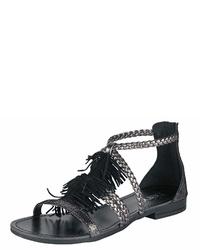 schwarze Wildleder Sandaletten von Heine