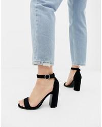 schwarze Wildleder Sandaletten von New Look