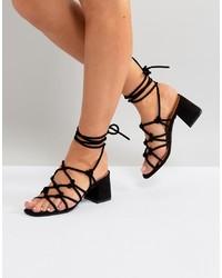 schwarze Wildleder Sandaletten von Public Desire