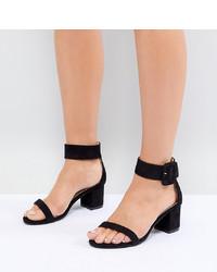schwarze Wildleder Sandaletten von Raid Wide Fit