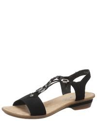 schwarze Wildleder Sandaletten von Rieker