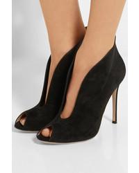 schwarze Wildleder Stiefeletten mit Ausschnitten von Gianvito Rossi ... 8a87809541