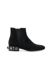 schwarze Wildleder Stiefeletten von Dolce & Gabbana