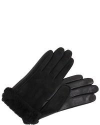 schwarze Wildlederhandschuhe