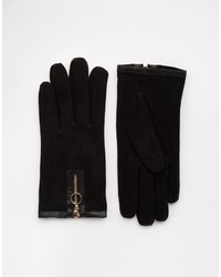 schwarze Wildlederhandschuhe von Asos