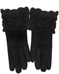 schwarze Wildlederhandschuhe von Bottega Veneta
