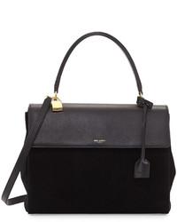 schwarze Wildlederhandtasche