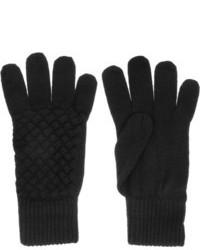schwarze Wollhandschuhe von Bottega Veneta