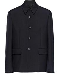 schwarze Wollshirtjacke von Prada