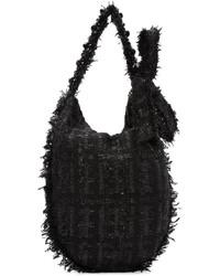 schwarze Wollshopper tasche