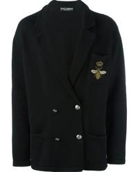schwarze zweireihige Strickjacke von Dolce & Gabbana