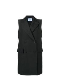 schwarzer ärmelloser Mantel von Prada