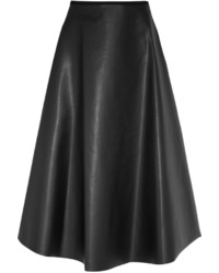 schwarzer ausgestellter Rock aus Leder von Lanvin