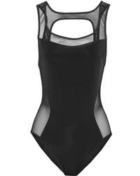 schwarzer Badeanzug aus Netzstoff von Jason Wu