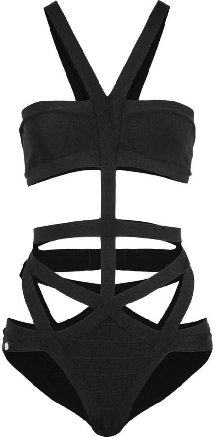 schwarzer Badeanzug mit Ausschnitten von Herve Leger