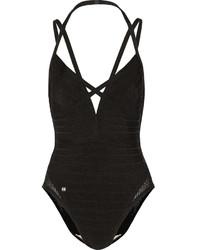 schwarzer Badeanzug von Herve Leger