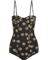 schwarzer bedruckter Badeanzug von Dolce & Gabbana
