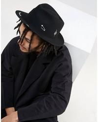 schwarzer bedruckter Hut von Asos
