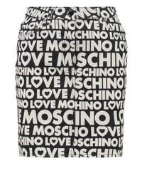 schwarzer bedruckter Jeans Minirock von Moschino