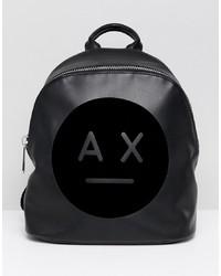 schwarzer bedruckter Leder Rucksack von Armani Exchange