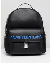 schwarzer bedruckter Leder Rucksack von Calvin Klein