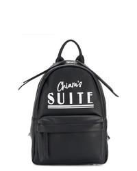 schwarzer bedruckter Leder Rucksack von Chiara Ferragni