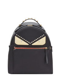 schwarzer bedruckter Leder Rucksack von Fendi