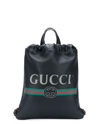 schwarzer bedruckter Leder Rucksack von Gucci
