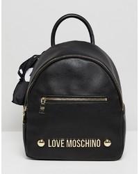 schwarzer bedruckter Leder Rucksack von Love Moschino