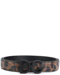 schwarzer bedruckter Ledergürtel von Dolce & Gabbana