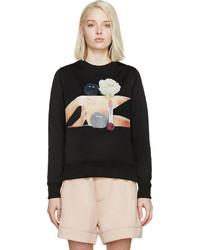 schwarzer bedruckter Oversize Pullover von Acne Studios
