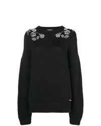 schwarzer bedruckter Oversize Pullover von Dsquared2