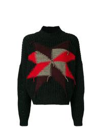 schwarzer bedruckter Oversize Pullover von Isabel Marant