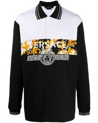 schwarzer bedruckter Polo Pullover von Versace