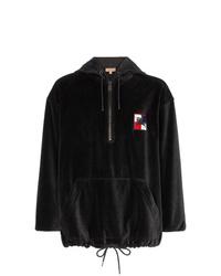 schwarzer bedruckter Pullover mit einem Kapuze von Burberry