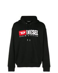 schwarzer bedruckter Pullover mit einem Kapuze von Diesel