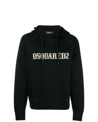 schwarzer bedruckter Pullover mit einem Kapuze von DSQUARED2