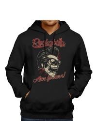 schwarzer bedruckter Pullover mit einem Kapuze von GASOLINE BANDIT®