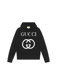 schwarzer bedruckter Pullover mit einem Kapuze von Gucci