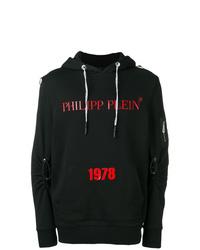 schwarzer bedruckter Pullover mit einem Kapuze von Philipp Plein