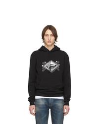 schwarzer bedruckter Pullover mit einem Kapuze von Saint Laurent