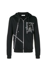 schwarzer bedruckter Pullover mit einem Kapuze von Versace Collection