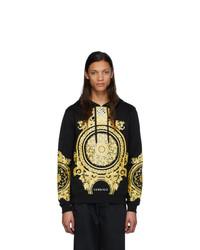 schwarzer bedruckter Pullover mit einem Kapuze von Versace