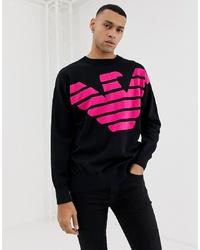 schwarzer bedruckter Pullover mit einem Rundhalsausschnitt von Emporio Armani