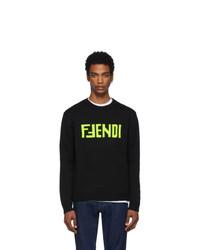 schwarzer bedruckter Pullover mit einem Rundhalsausschnitt von Fendi