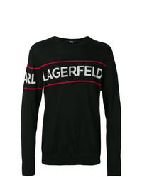 schwarzer bedruckter Pullover mit einem Rundhalsausschnitt von Karl Lagerfeld