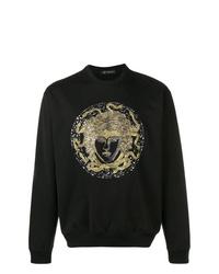 schwarzer bedruckter Pullover mit einem Rundhalsausschnitt von Versace